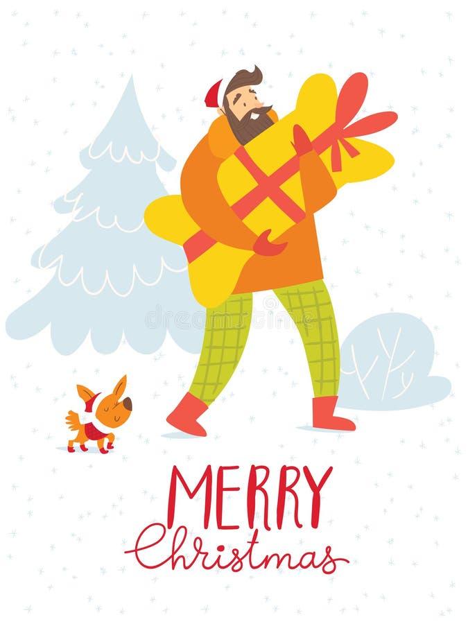Διανυσματική κάρτα Χαρούμενα Χριστούγεννας με το ψωνίζοντας άτομο με ένα σκυλί απεικόνιση αποθεμάτων