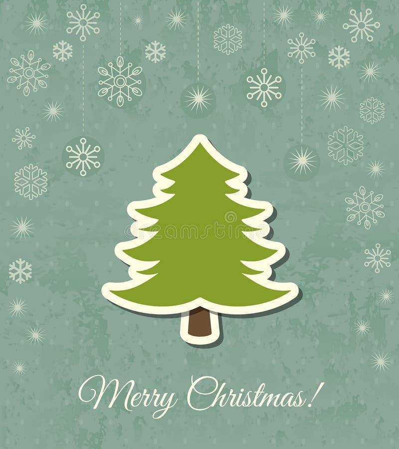 Διανυσματική κάρτα χριστουγεννιάτικων δέντρων απεικόνιση αποθεμάτων