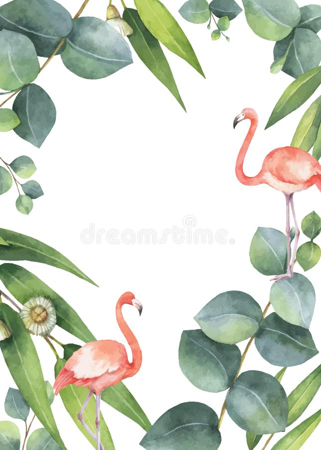 Διανυσματική κάρτα Watercolor των φύλλων ευκαλύπτων και το ροζ φλαμίγκο που απομονώνεται απεικόνιση αποθεμάτων