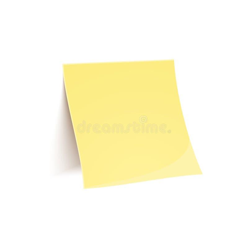 Διανυσματική κίτρινη σημείωση ραβδιών που απομονώνεται στο λευκό ελεύθερη απεικόνιση δικαιώματος