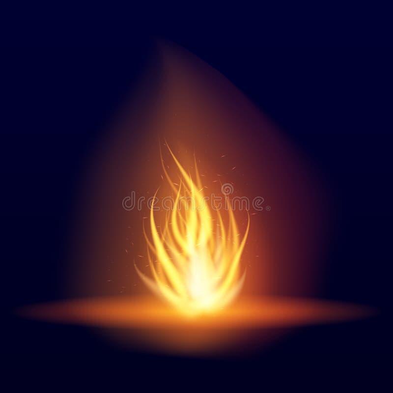 Διανυσματική καίγοντας φωτιά Καυτή τρέμοντας φλόγα με τους σπινθήρες γλώσσες φλογών Τρεμούλιασμα ενός φανού Φωτεινή επίδραση καψί διανυσματική απεικόνιση