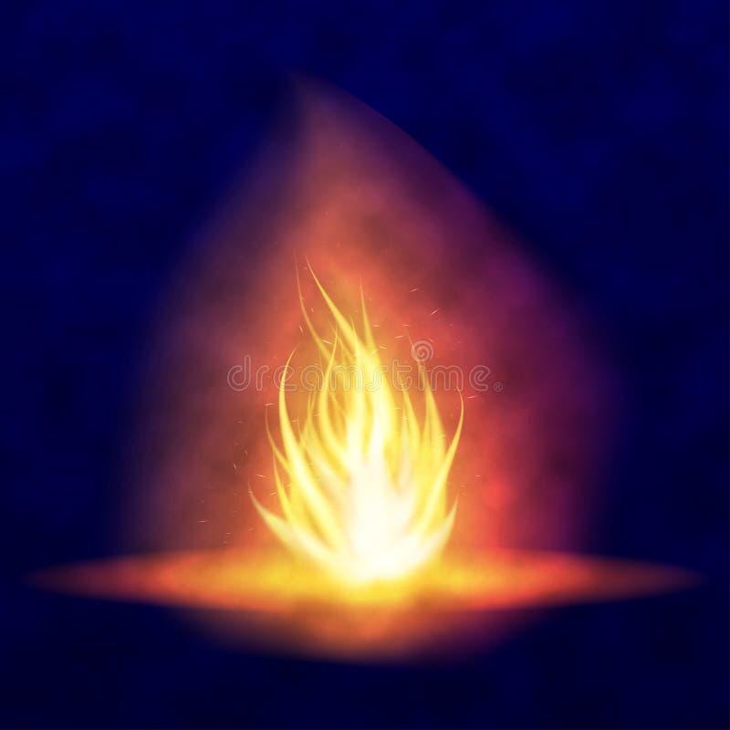 Διανυσματική καίγοντας φωτιά Καυτή τρέμοντας φλόγα με τους σπινθήρες γλώσσες φλογών Τρεμούλιασμα ενός φανού Φωτεινή επίδραση καψί ελεύθερη απεικόνιση δικαιώματος