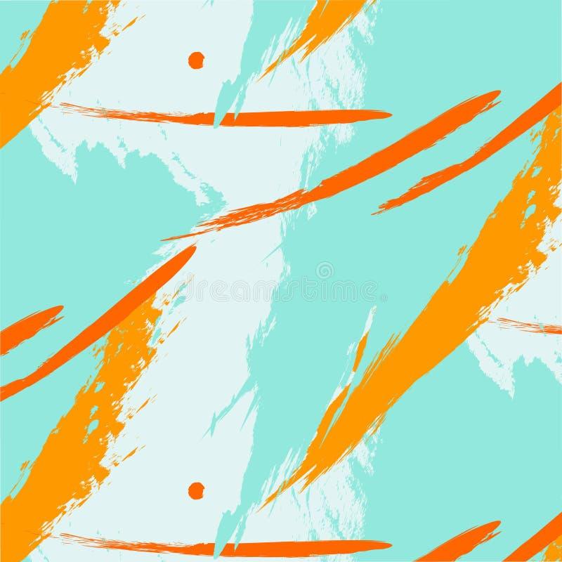 Διανυσματική καθιερώνουσα τη μόδα ελεύθερη σύνθεση φαντασίας αντίθεσης με το πορτοκαλί σχέδιο κτυπήματος βουρτσών μεντών Δυναμική απεικόνιση αποθεμάτων