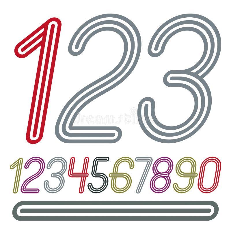 Διανυσματική καθιερώνουσα τη μόδα συλλογή αριθμών Αναδρομικοί κυρτοί αριθμοί από 0 απεικόνιση αποθεμάτων