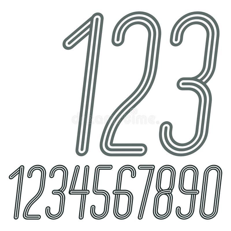 Διανυσματική καθιερώνουσα τη μόδα συλλογή αριθμών Αναδρομικό κυρτό συμπυκνωμένο numera διανυσματική απεικόνιση