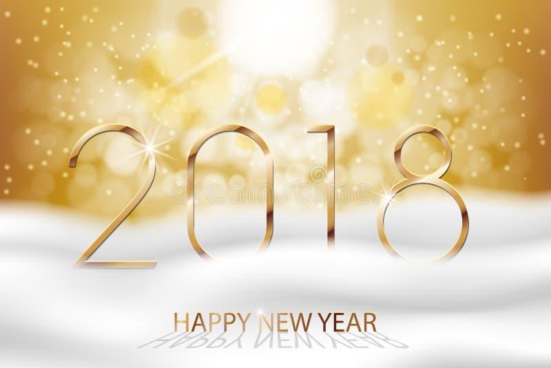 Διανυσματική καλή χρονιά 2018 - νέο ζωηρόχρωμο χειμερινό υπόβαθρο έτους με το χρυσό κείμενο Νέο έμβλημα έτους χαιρετισμών με το χ διανυσματική απεικόνιση