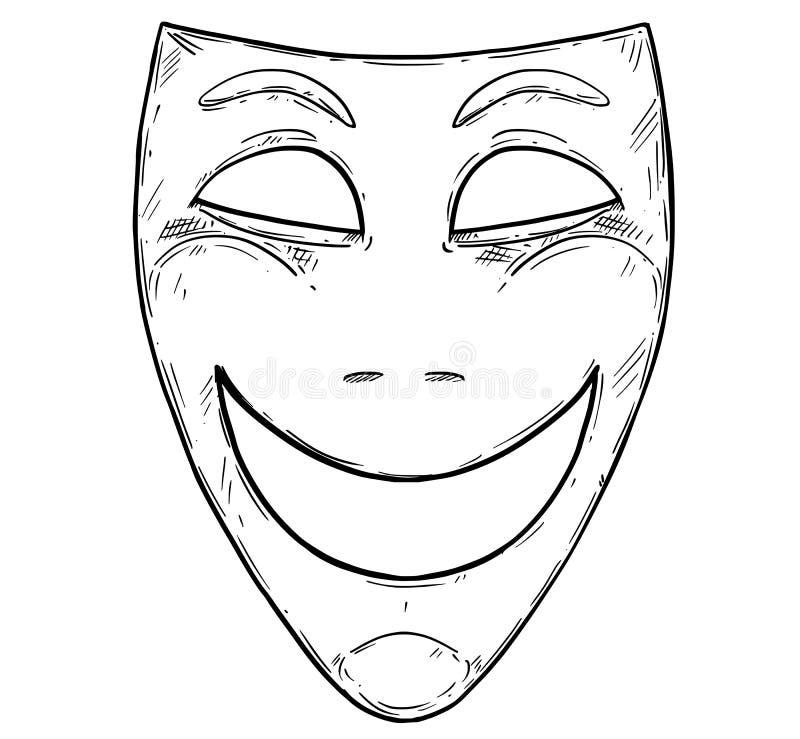 Διανυσματική καλλιτεχνική απεικόνιση σχεδίων της ευτυχούς μάσκας κωμωδίας χαμόγελου διανυσματική απεικόνιση