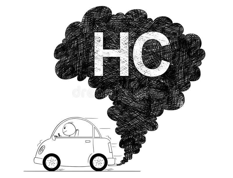 Διανυσματική καλλιτεχνική απεικόνιση σχεδίων της ρύπανσης αέρα HC αυτοκινήτων διανυσματική απεικόνιση