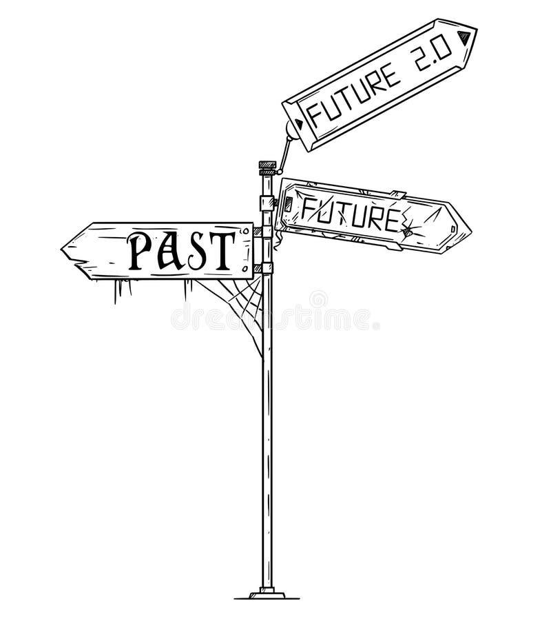 Διανυσματική καλλιτεχνική απεικόνιση σχεδίων του σημαδιού βελών κυκλοφορίας με προηγούμενο, μελλοντικός και το μέλλον 2 Κείμενο 0 διανυσματική απεικόνιση
