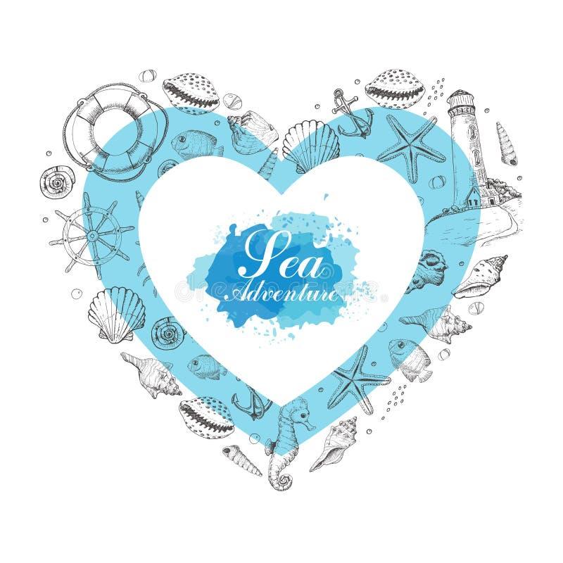 Διανυσματική καρδιά από τα θερινά θαλάσσια στοιχεία απεικόνιση αποθεμάτων
