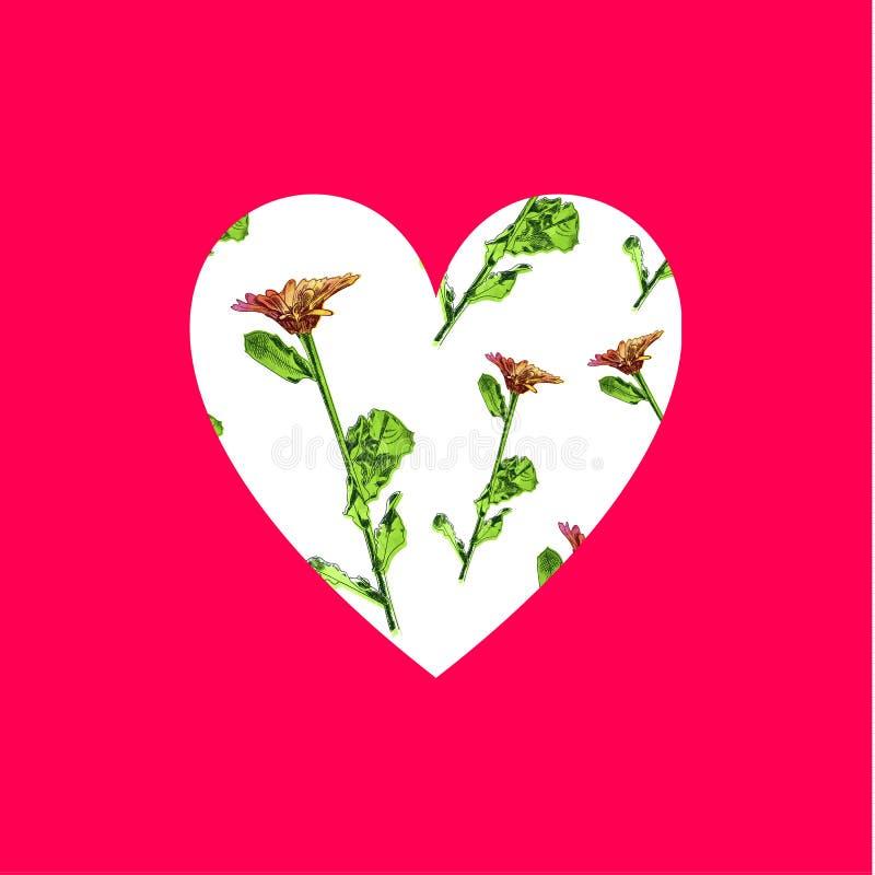 Διανυσματική καρδιά με τα λουλούδια Watercolor που απομονώνονται στο φωτεινό ρόδινο υπόβαθρο, Floral ομιλία διανυσματική απεικόνιση