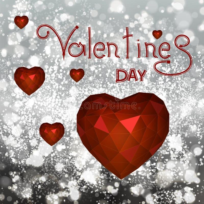 Διανυσματική καρδιά τριγώνων στο υπόβαθρο blure για την ημέρα βαλεντίνων Αβ ελεύθερη απεικόνιση δικαιώματος