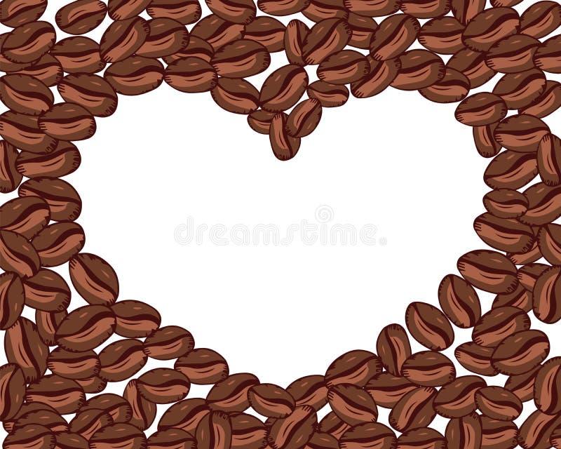 Διανυσματική καρδιά των φασολιών καφέ στο άσπρο υπόβαθρο διαστημικό κείμενό σας ελεύθερη απεικόνιση δικαιώματος