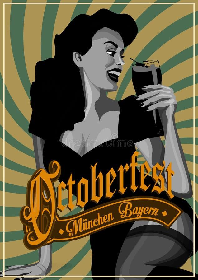 Διανυσματική καρφίτσα επάνω στην κρεμώντας μπύρα σερβιτορών κοριτσιών διανυσματική απεικόνιση