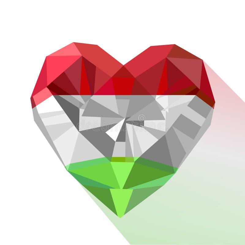 Διανυσματική καρδιά κοσμήματος πολύτιμων λίθων κρυστάλλου με τη σημαία της Ουγγαρίας ελεύθερη απεικόνιση δικαιώματος