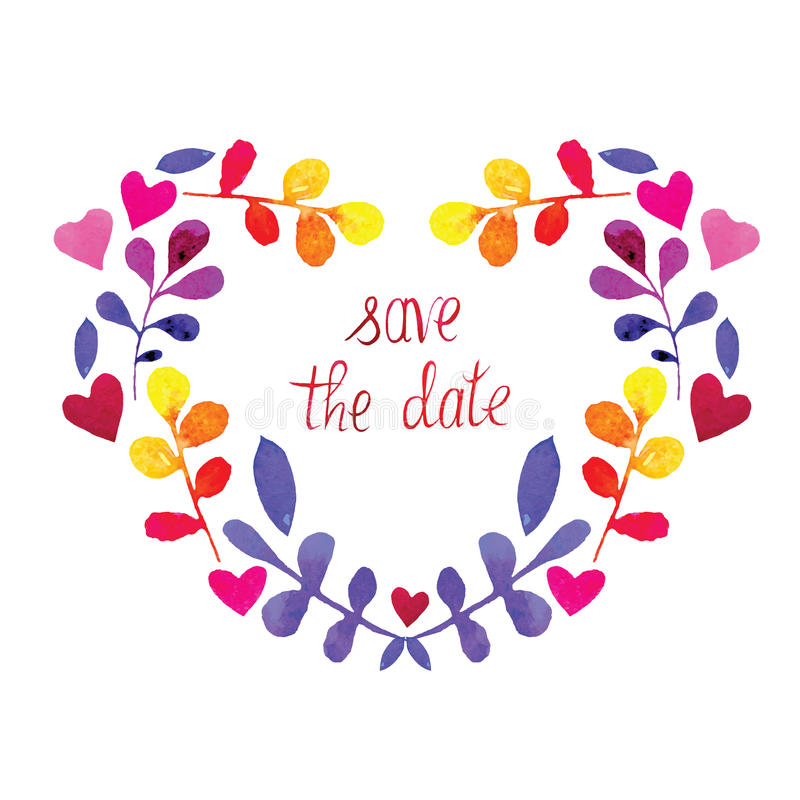 Διανυσματική καρδιά watercolor πλαισίων με τα λουλούδια η ημερομηνία σώζει στοκ εικόνες με δικαίωμα ελεύθερης χρήσης