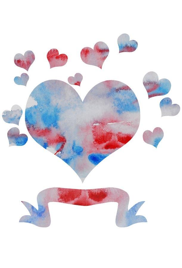 Διανυσματική καρδιά watercolor απεικόνιση αποθεμάτων