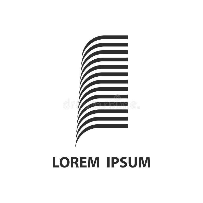 Διανυσματική κατασκευή αρχιτεκτονικής λογότυπων οικοδόμησης ακίνητων περιουσιών διανυσματική απεικόνιση