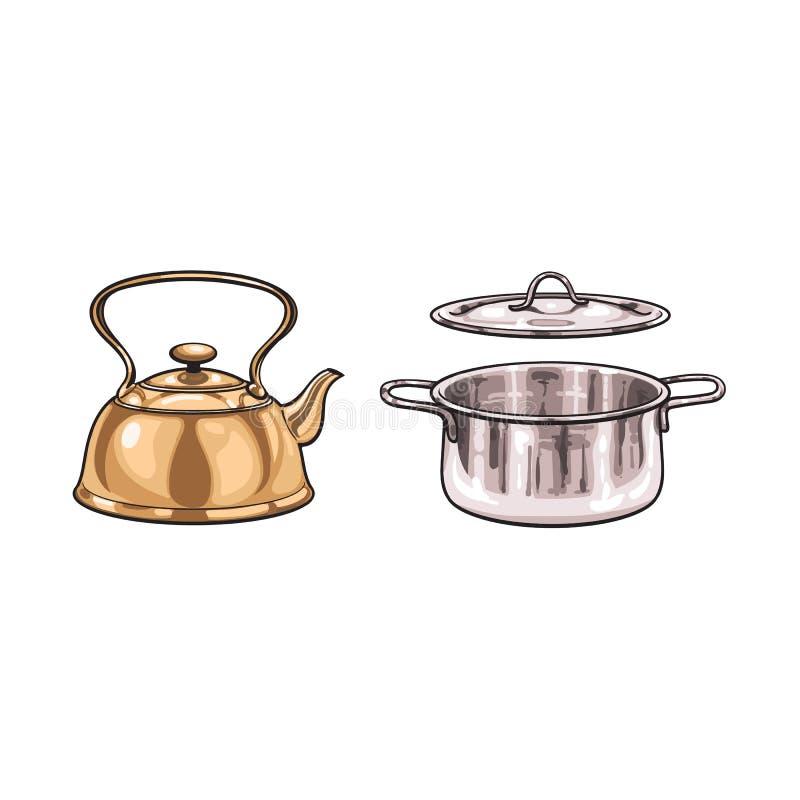Διανυσματική κατσαρόλα μετάλλων, κινούμενα σχέδια σκίτσων δοχείων που απομονώνονται απεικόνιση αποθεμάτων