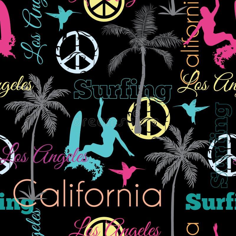 Διανυσματική Καλιφόρνια ζωηρόχρωμη στο μαύρο άνευ ραφής σχέδιο επιφάνειας σχεδίων με τις κάνοντας σερφ γυναίκες, φοίνικες, σημάδι απεικόνιση αποθεμάτων