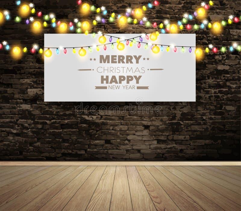 Διανυσματική κενή πίνακας διαφημίσεων ή αφίσα στο δωμάτιο τοίχων με τα φω'τα Χριστουγέννων διανυσματική απεικόνιση