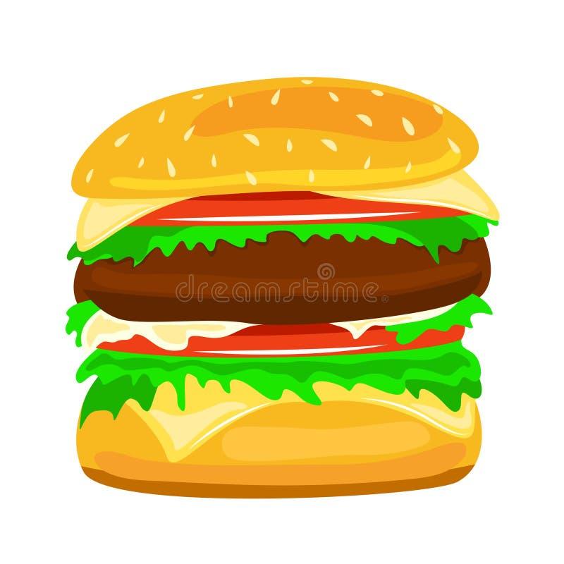 Διανυσματική κινηματογράφηση σε πρώτο πλάνο τροφίμων απεικόνισης χάμπουργκερ διανυσματική απεικόνιση