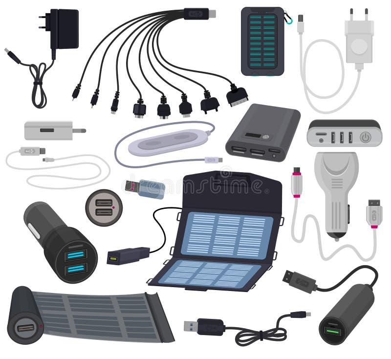 Διανυσματική κινητή τεχνολογία δαπανών δύναμης καλωδίων φορτιστών για το σύνολο απεικόνισης smartphone προσαρμοστή βουλωμάτων συσ διανυσματική απεικόνιση