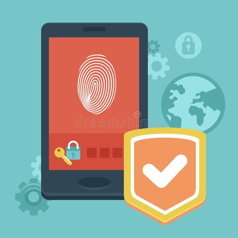 Διανυσματική κινητή τηλεφωνική ασφάλεια απεικόνιση αποθεμάτων