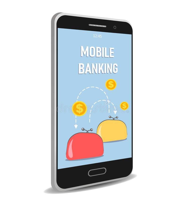 Διανυσματική κινητή τραπεζική έννοια στο άσπρο υπόβαθρο ελεύθερη απεικόνιση δικαιώματος