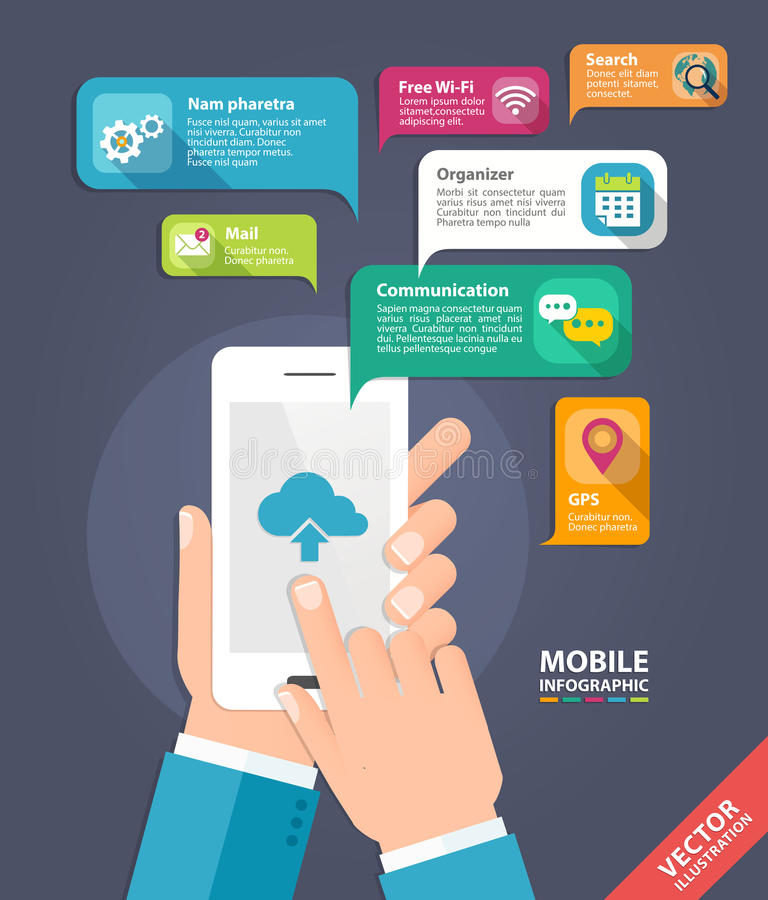 Διανυσματική κινητή app έννοια ανάπτυξης Χέρια που κρατούν το έξυπνο τηλέφωνο απεικόνιση αποθεμάτων