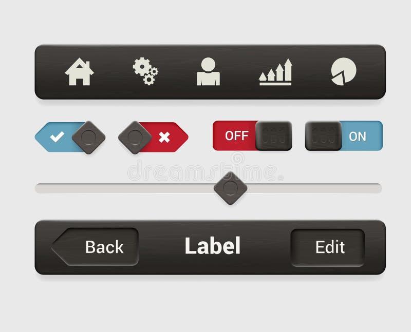 Διανυσματική κινητή app διεπαφή ταμπλετών: επιλογές, κουμπί, επάνω μακριά, ολισθαίνων ρυθμιστής ελεύθερη απεικόνιση δικαιώματος