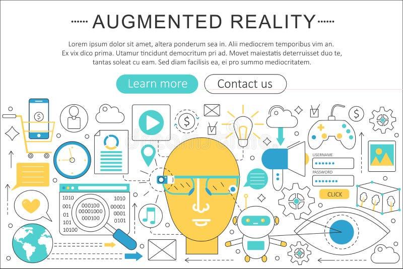 Διανυσματική κομψή λεπτή γραμμών επίπεδη έννοια τεχνολογίας πραγματικότητας σύγχρονης τέχνης αυξημένη σχέδιο απεικόνιση αποθεμάτων