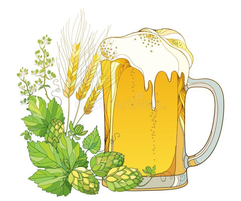 Διανυσματική κούπα μπύρας με τους λυκίσκους ή Humulus περιλήψεων και περίκομψα αυτιά σίτου στο άσπρο υπόβαθρο Γυαλί με την μπύρα  διανυσματική απεικόνιση
