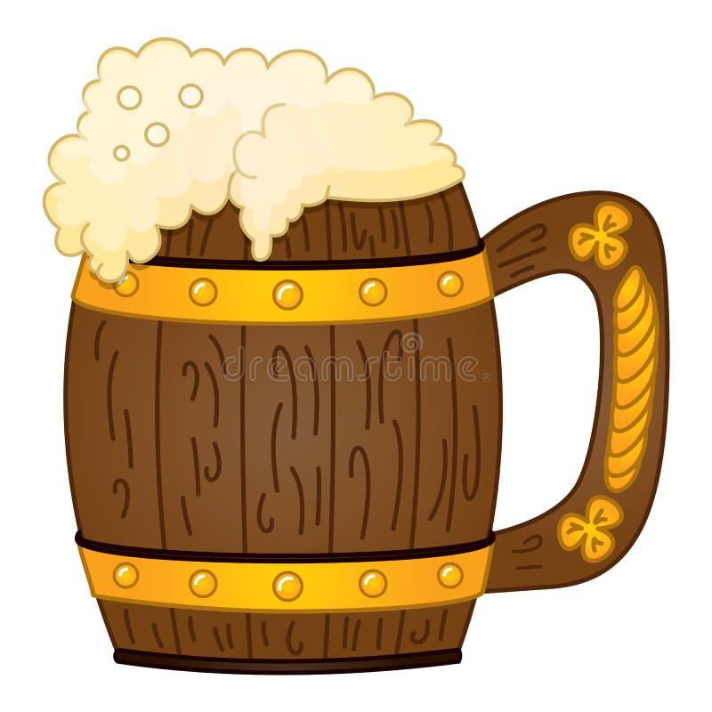 Διανυσματική κούπα της μπύρας αφρού Κούπα μπύρας με την εικόνα τριφυλλιών Ευτυχής ημέρα του ST Πάτρικ διανυσματική απεικόνιση