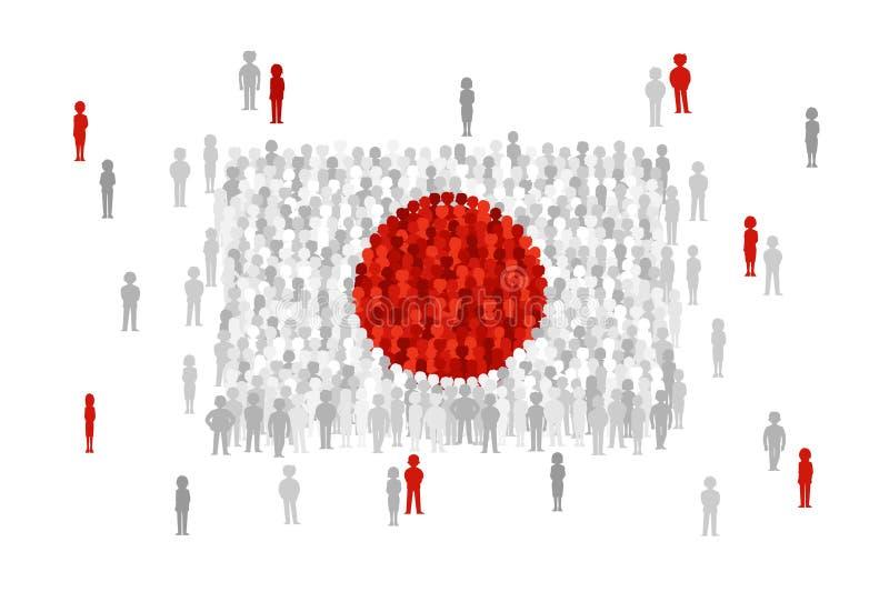 Διανυσματική κρατική σημαία της Ιαπωνίας που διαμορφώνεται από το πλήθος των ανθρώπων κινούμενων σχεδίων απεικόνιση αποθεμάτων