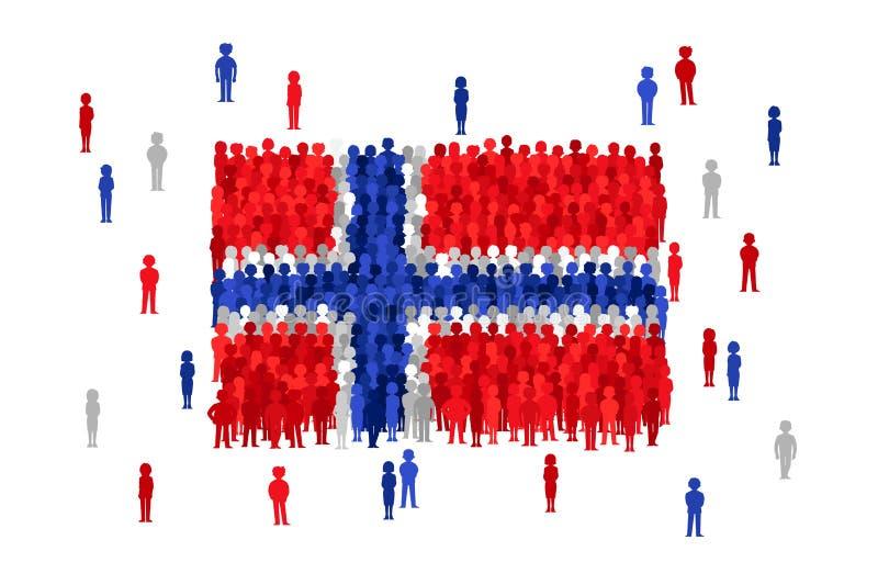 Διανυσματική κρατική σημαία της Νορβηγίας που διαμορφώνεται από το πλήθος των ανθρώπων κινούμενων σχεδίων ελεύθερη απεικόνιση δικαιώματος