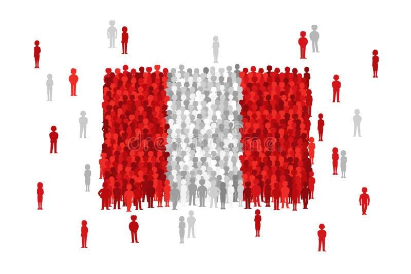 Διανυσματική κρατική σημαία του Περού που διαμορφώνεται από το πλήθος των ανθρώπων κινούμενων σχεδίων ελεύθερη απεικόνιση δικαιώματος