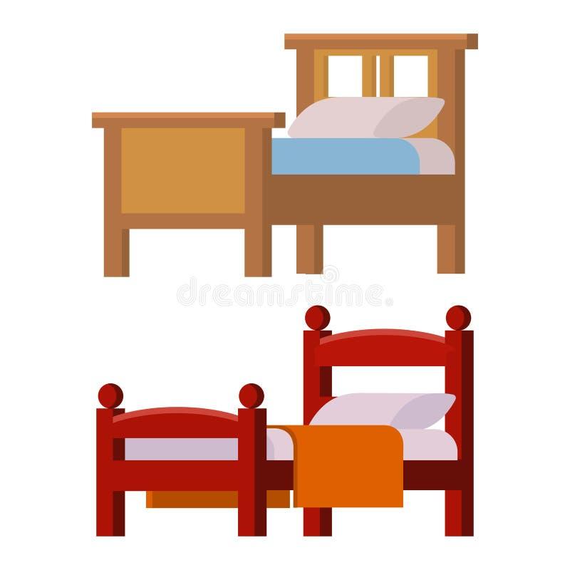 Διανυσματική κρεβατιών εικονιδίων καθορισμένη εσωτερική εγχώριου υπολοίπου συλλογής ύπνου απεικόνιση νύχτας επίπλων άνετη απεικόνιση αποθεμάτων