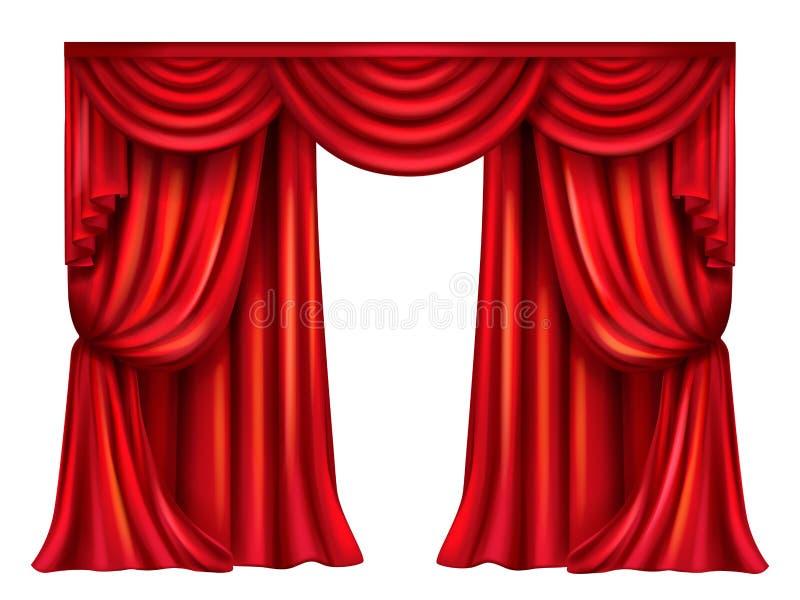 Διανυσματική κόκκινη θεατρική κουρτίνα στο άσπρο υπόβαθρο απεικόνιση αποθεμάτων