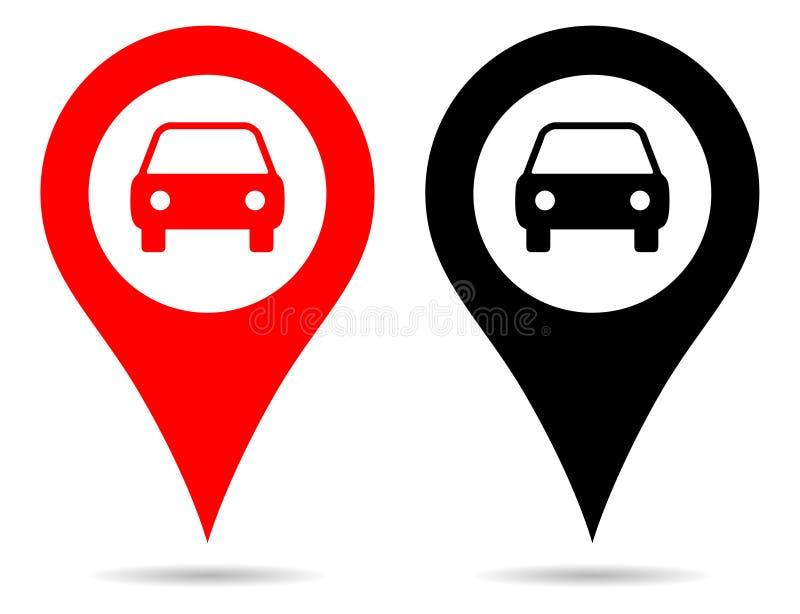 Διανυσματική κόκκινη και μαύρη ναυσιπλοΐα καρφιτσών χαρτών δεικτών χρώματος με το σύμβολο αυτοκινήτων ελεύθερη απεικόνιση δικαιώματος