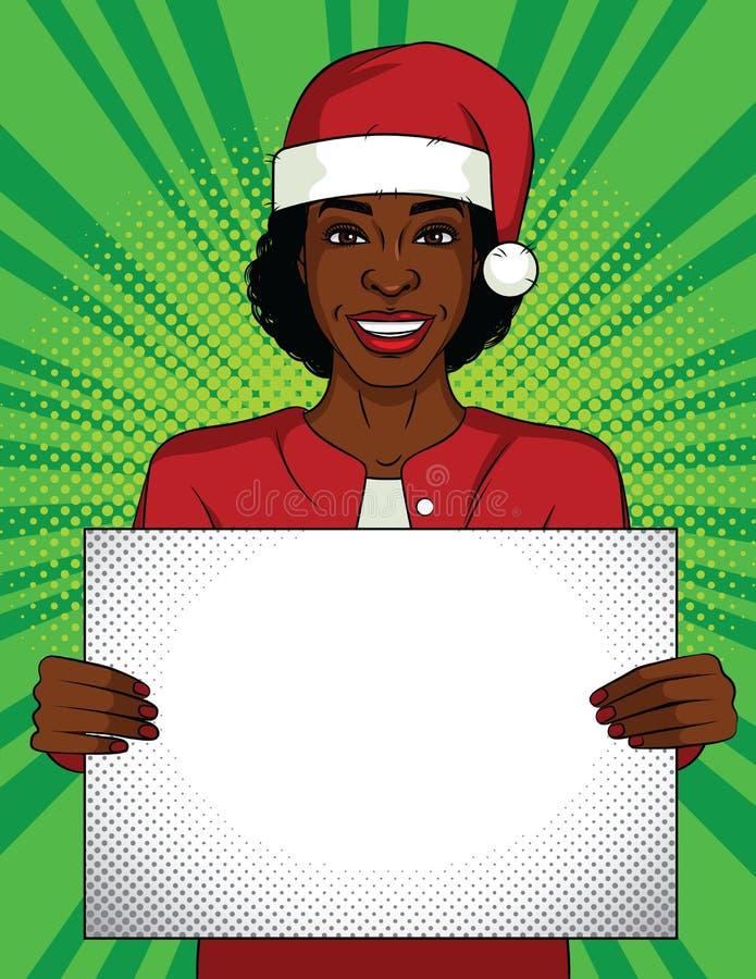 Διανυσματική λαϊκή απεικόνιση ύφους τέχνης χρώματος Επιχειρησιακή γυναίκα που κρατά μια κενή αφίσα Γυναίκα αφροαμερικάνων που φορ απεικόνιση αποθεμάτων