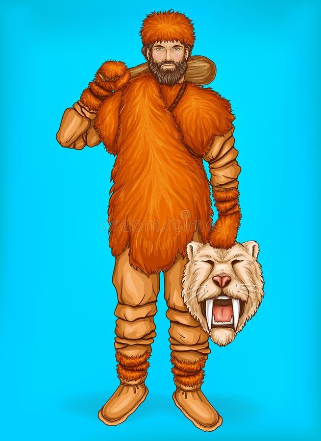 Διανυσματική λαϊκή τέχνη caveman με το θήραμα, έννοια κυνηγιού απεικόνιση αποθεμάτων