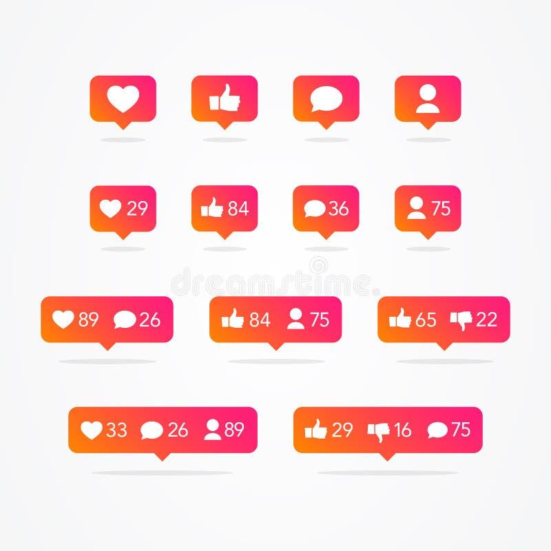 Διανυσματική λεκτική φυσαλίδα Tooltip όπως, αντίθετα από, οπαδός, σχόλιο, ανακοίνωση, καρδιά, σύνολο εικονιδίων χρηστών Τα κοινων διανυσματική απεικόνιση