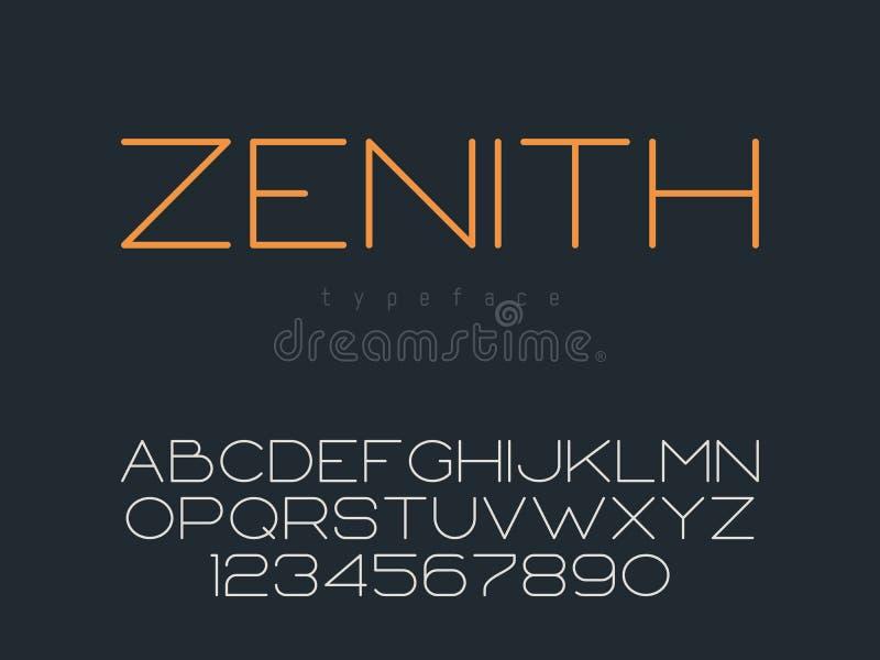 Διανυσματική λεπτή κεφαλαία πηγή γραμμών Λατινικοί επιστολές και αριθμοί αλφάβητου απεικόνιση αποθεμάτων
