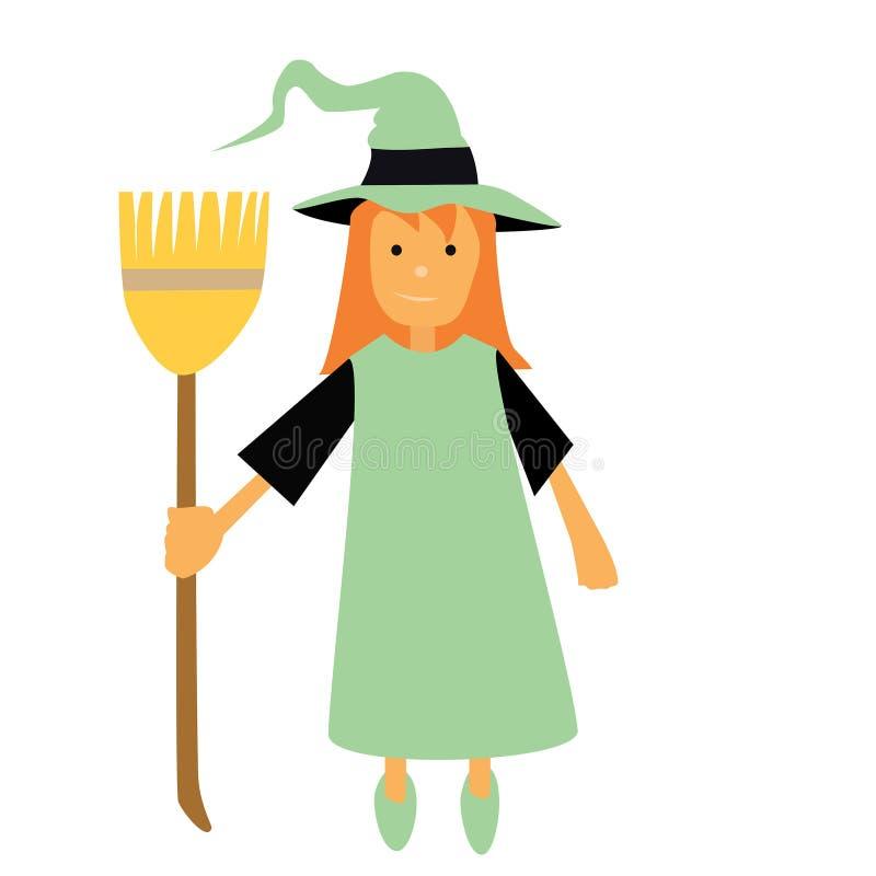 Διανυσματική μάγισσα αποκριών με μια σκούπα και μια πράσινη πορτοκαλιά τρίχα φορεμάτων και ένα πράσινο καπέλο μαγισσών απεικόνιση αποθεμάτων