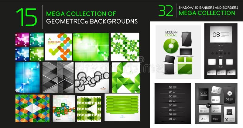 Διανυσματική μέγα συλλογή των γεωμετρικών αφηρημένων υποβάθρων και των διαιρετών διανυσματική απεικόνιση