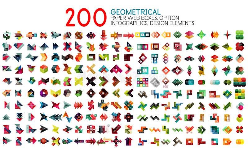 Διανυσματική μέγα συλλογή των γεωμετρικών προτύπων εμβλημάτων ύφους εγγράφου με το κείμενο δείγμα και τις επιλογές διανυσματική απεικόνιση