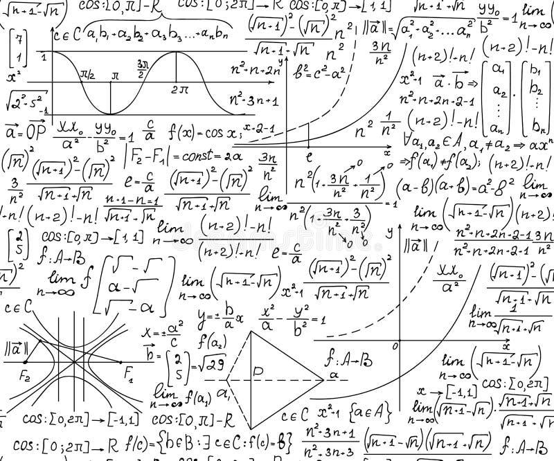 Διανυσματική μαθηματική άνευ ραφής σύσταση με τους χειρόγραφους τύπους άλγεβρας και γεωμετρίας, λειτουργίες, υπολογισμοί διανυσματική απεικόνιση