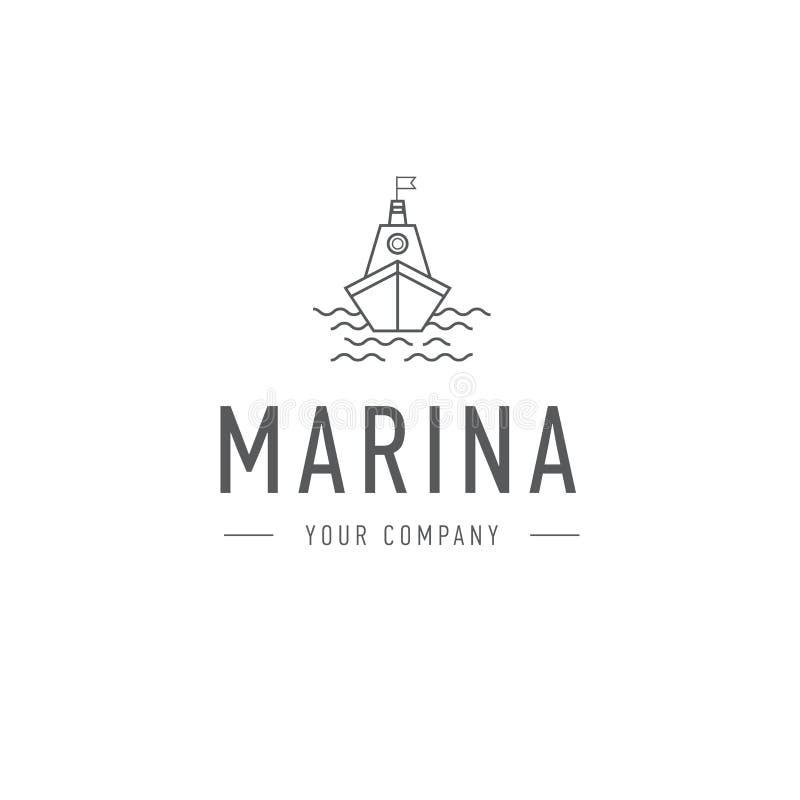 Διανυσματική μαρίνα, πρότυπο λογότυπων τιμονιών, αφηρημένο επιχειρησιακό εικονίδιο Σκάφος και κύματα ατμόπλοιο Sailboat αλιεία διανυσματική απεικόνιση