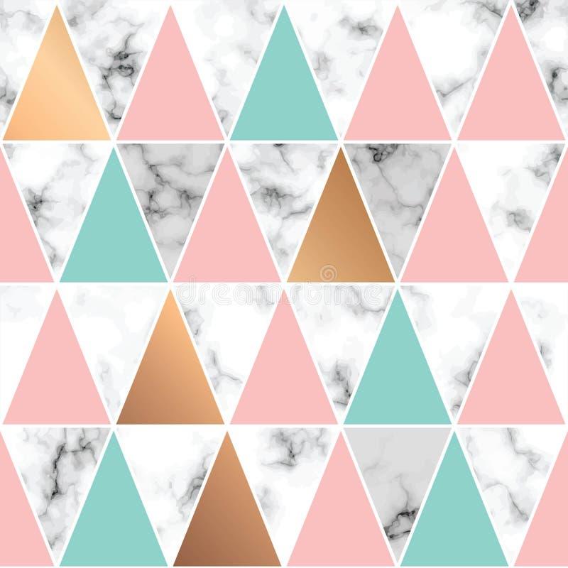 Διανυσματική μαρμάρινη σύσταση, άνευ ραφής σχέδιο σχεδίων με τις χρυσά γεωμετρικά γραμμές και τα τρίγωνα, γραπτή marbling επιφάνε διανυσματική απεικόνιση